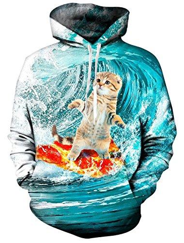 Causal Hoodie,Chicolife Unisex Lustige 3D Gedruckte Drawstring Katze Spiel Pizza Surfboard zum Surfen Hoodies Pullover Regenbogen Kapuzenjacke mit Samt Plus Futter (XXL, Cat Surfing)