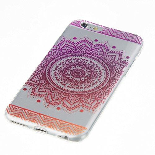 Coque iPhone 6 Plus, Étui iPhone 6S Plus, iPhone 6 Plus/iPhone 6S Plus Case, ikasus® Coque iPhone 6 Plus/iPhone 6S Plus Housse TPU Tournesol à gradient de couleur Silicone Étui Housse Téléphone Couver Flor de gradient rouge violet