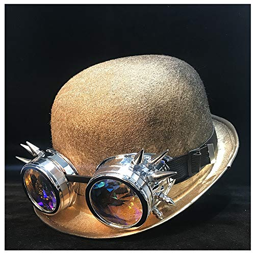 GuoQiang Zhou Damen Herren Steampunk-Hut Bowler Hut Cosplay Topper Top Hat Fedora Gear Brille Billycock Bräutigam Hut Größe 58 cm Gold Qhou 58 cm -