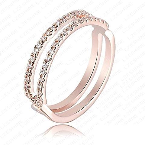 Daesar Joyería Anillo Compromiso de Oro Rosa Mujer, Diamantes Imitación de Pavé con Cuerpo Dividido Anillo de