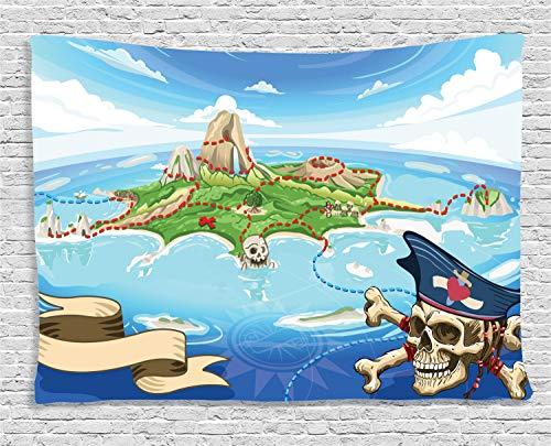 (ABAKUHAUS Karikatur Wandteppich, Piraten-Insel-Schädel, Wohnzimmer Schlafzimmer Heim Seidiges Satin Wandteppich, 200 x 150 cm, Mehrfarbig)