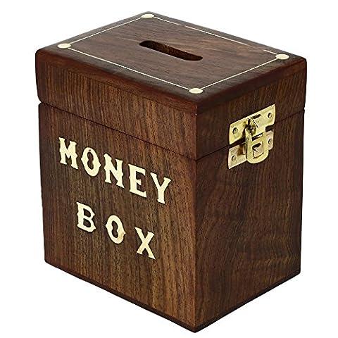 ShalinIndia Indian Coin Money Bank Saving Box - Banques pour Enfants et Adultes - Bois vacances