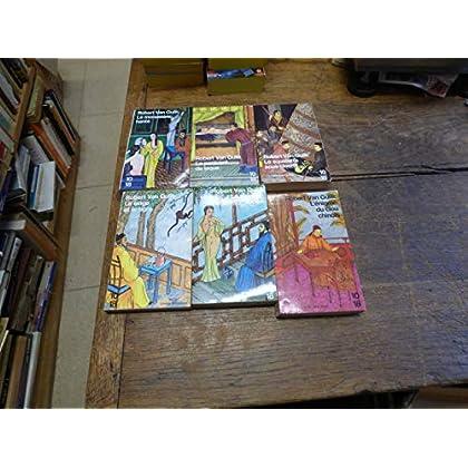 Lot de 6 livres de Robert van Gulik : le singe et le tigre - le pavillon rouge - le monastère hanté - l'énigme du clou chinois - le squelette sous cloche - le paravent de laque