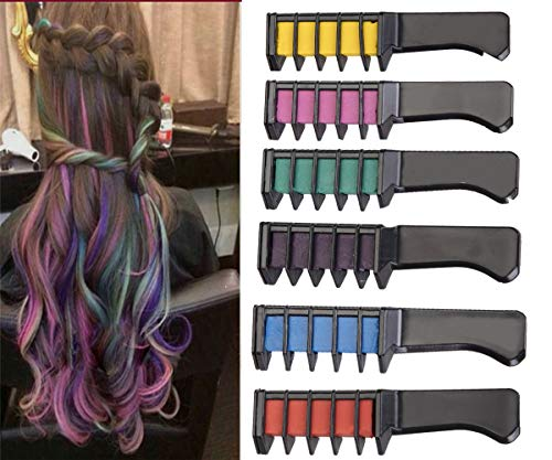 Hair Crayon Non-Toxic 6 Color Natural Hair Chalk Pens Temporary Hair Color for Girls, Perfect Gift for Carnival,Hair Color Lasts up to 2-3 Days,Kids Hair Dye