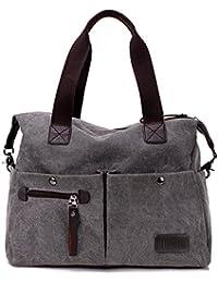 Nlyefa Sacchetto di spalla della borsa della tela di canapa delle donne per il turismo Shopping Grigio