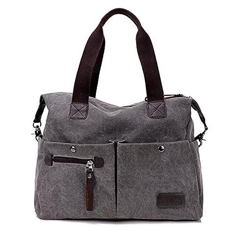 Damen Canvas Tasche Umhängetasche für Reise Shopping Grau