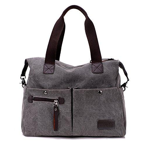 Nlyefa Damen Canvas Handtasche / Umhängetasche groß, Canvas Schultertasche Hobo Bags für Schule Büro Reise Shopping Grau (Tasche Geldbörse Handtasche)