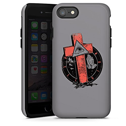 Apple iPhone X Silikon Hülle Case Schutzhülle Kreuz Auge illuminati Gothic Tough Case glänzend