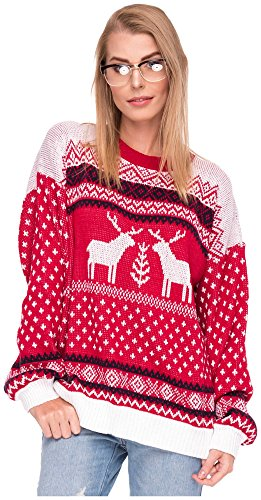 *Damen Sweater Sweatshirt Pullover Merry Christmas Rentier Weihnachten Pulli Elf (OneSize, Rentiere Rot)*