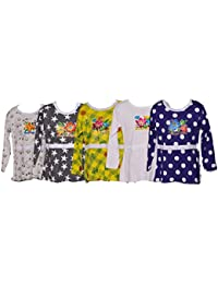 BRATS N BEAUTY - FROCK STYLE GIRL T SHIRT 100% HOUSIRY COMBO (5 PCS SET) 5-6 YEAR ASSORTED COLOUR & PRINT (FULL SLEEVE)