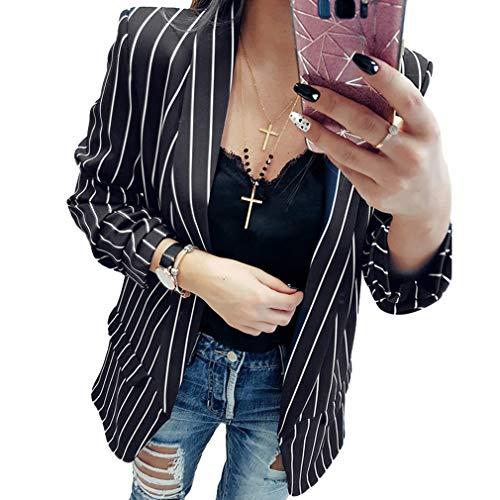 Hibote Damen Langarm Blazer Mode Slim Umlegekragen Kurzjacke Lässig Büro Geschäft Arbeit Formeller Abend Anzug Mantel Oberbekleidung Große Größen