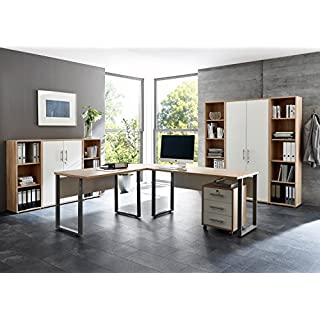 Büromöbel Arbeitszimmer Home Office komplett Set OFFICE EDITION (Set 5) in Eiche Sonoma / Weiß - Made in Germany