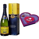 Monopole Heidsieck Blue Top Brut Champagner + Milka, I love Milka Geschenkherz klein, Romantik, Pralinen, 50g, 6er Pack (6 x 50 g)