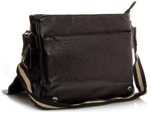 Big Handbag Shop große Umhängetasche Unisex aus Kunstleder mit mehreren Taschen mediumblau