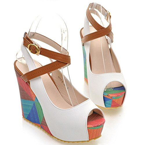 COOLCEPT Femmes Peep Toe Compenses Sandales Plate-forme Slingback Chaussures Blanc