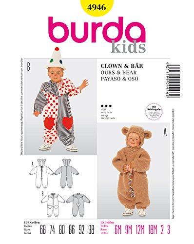 Burda 4946 Schnittmuster Kostüm Fasching Karneval Bär & Clown (Baby, Gr. 68-98) – Level 3 ()