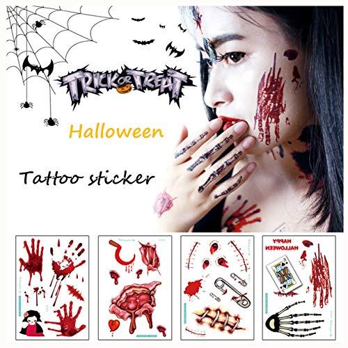 Halloween scars tatuaggi temporanei per adulti - confezione da 22 fogli impermeabile tatuaggio del braccio sticker halloween atmosfera puntelli del partito horror cicatrici da ferita dress up tattoo