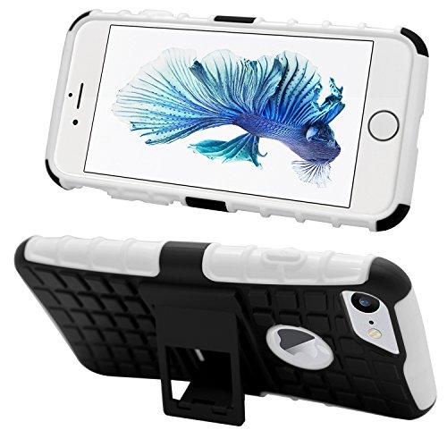 Samrick durable antidérapant les chocs et impacts Proof arrière rigide Coque de protection avec support de visualisation exclusif pour Apple iPhone 7–Rouge, blanc, iPhone 7 blanc