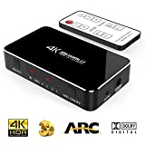SOWTECH 4 X 1 4K HDMI Switch mit Audio Optisch TOSLINK Out, 4 Port Ultra HD 4Kx2K HDMI Verteiler Audio Extractor mit IR Fernbedienung [Unterstützt ARC | YUV 420 4K 60Hz] HDR 2K für HDTV Laptop