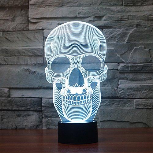 Dekorative Tischlampe, New Halloween Skull, kreative 3D kleine Lampe, LED Geschenk Licht, 260X137X87 (mm), Akku Touch Base