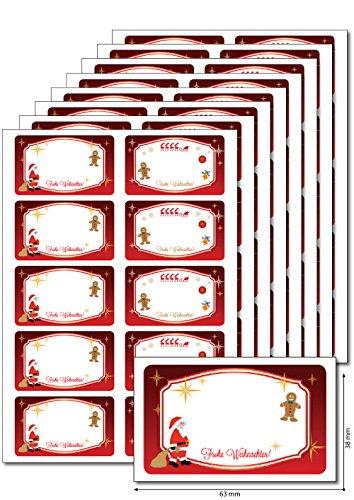 chten rot' zum Bedrucken, Beschriften, DIN A5, selbstklebend, leicht ablösbar, für Einmachgläser, Gebäcktüten, Geschenke (Weihnachts-etiketten)