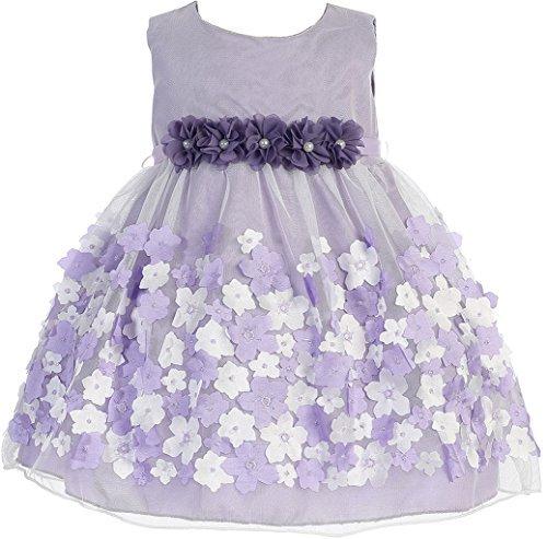 BNY Corner Baby &Infant Flower Girl Dress Tulle Overlay Satin Dress Lavender S KD333
