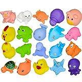 Dasuke Baby Badespielzeug Mini Tiere Squeeze und Spritztier Gummi Badewanne Spielzeug mit Löffel Net (20 PCS)
