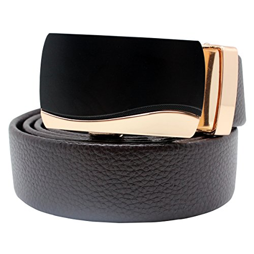 boshiho Leather belt, man leather ratchet belt buckle automatic brown leather strap - Custom fit Brown brown One size