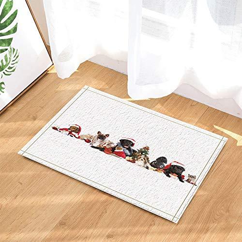 panshuihui 3D Digital Printing Animali di Natale Decor Cane e Gatto con Cappello di Babbo Natale Ne Tappeti da Bagno Antiscivolo zerbino da Pavimento Tappetino da Bagno per 60X40CM