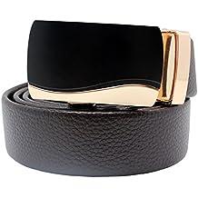 Cinturón de cuero, Boshiho de hombre de piel de trinquete cinturón hebilla automática marrón correa