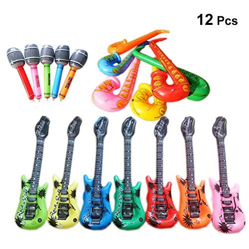 YeahiBaby 12 stücke Aufblasbare Elektrische Gitarre Air-Guitar Saxophon Mikrofon Musikinstrumente Party Favors (Zufällige Farbe)