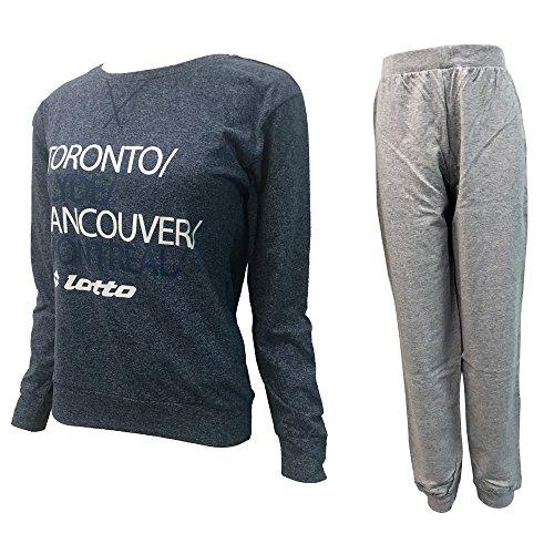pigiama donna lungo caldo cotone LOTTO homewear nuova collezione art. LP4004 Jeans