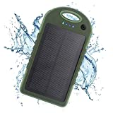 YFQH Solarbatterie-12000mAh regendicht staubdicht/stoßfest dual USB-Port tragbares Ladegerät für Notstromversorgung