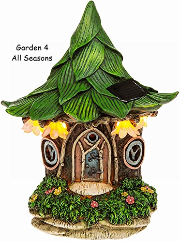 Fairy Garden Solarleuchte LED lluminated House Dwelling Pixie Fantasy Miniatur Ornaments–Leaf Cottage