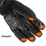 Savior beheizte Handschuhe für Männer und Frauen, Palm Lederhandschuhe für Winterski und Eislaufen , Arthritis Handschuhe und 7.4V 2200 Mah Elektrische wiederaufladbare Batterien Handschuhe (Schwarz) - 5