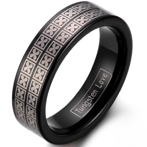 JewelryWe Gioielli moda 6 millimetri Hers nero IP carburo di tungsteno fascia di cerimonia nuziale anello di fidanzamento con inciso al laser Four Leaf Clover design meraviglioso