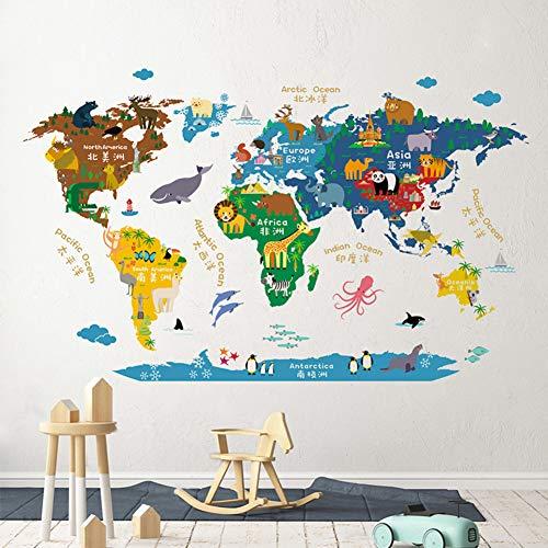 HAOLY Kinderzimmer Dekor Cartoon Welt Karte Wandsticker, Kindergarten Wand Malerei, Wohnzimmer Sofa Aufkleber-a 110x70cm(43x28inch)