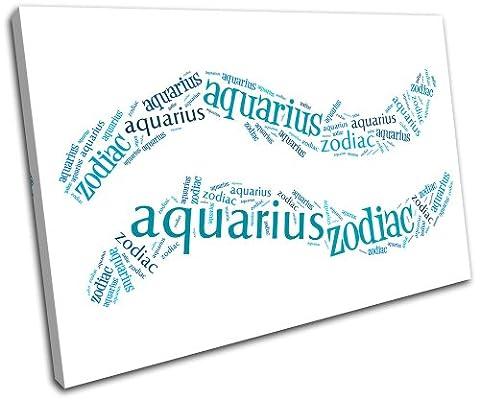 Bold Bloc Design - Aquarius Zodiac Starsign - 135x90cm Boîte de tirage d'Art toile encadrée photo Wall Hanging - à la main dans le UK - encadré et prêt à accrocher - Canvas Art Print