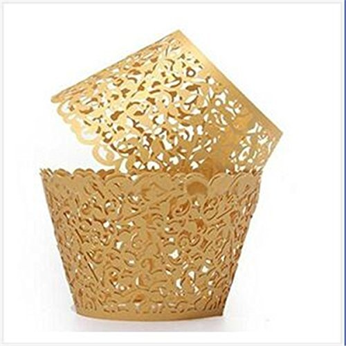Naisi Gold 12 Pieces Laser Cut Vine Vine Filigree Design Cakes, Chocolate Cupcake Wrappers Wraps Wedding Cases Decor