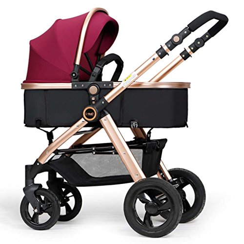 SUBBYE Kinderwagen Baby-Pushchair / Two-Way kann sitzen Ultra-Light Falten Falten Vier-Wheeled Baby Trolley Champagner Gold Farbe Baby-Kinderwagen ( Farbe : B )