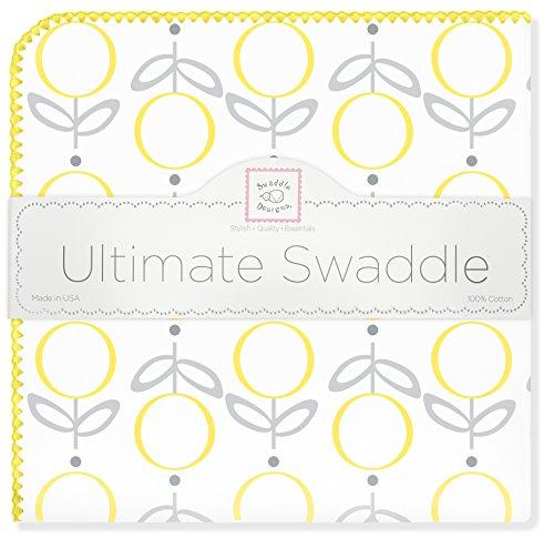 SwaddleDesigns Ultimatives Pucktuch, Premium Baumwollflannell, Lutscher und Blumen, Gelb