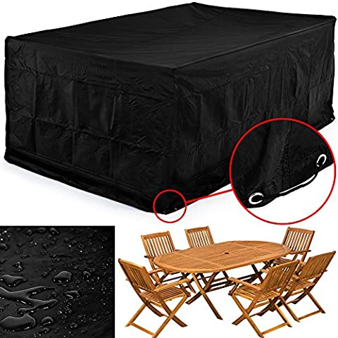 420 D Oxford Textile Rectangular Garden Furniture Cover For Table and Chair Set Outdoor Patio Weather Protection - 242 x 162 x 100cm black