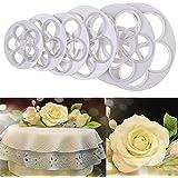 JoyGlobal Plastic Rose Flower Petal Fondant Cutter Cake DIY Cutter Set, 6-Pieces, White