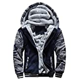 Lucky mall Männer M-4XL Winter Warme Fleece-Mantel, Kapuze Zipper Sweater Jacke Outwear, Herren Winterkleidung Plus Samt Camouflage Sportbekleidung Große Schlanke Warme Jacke