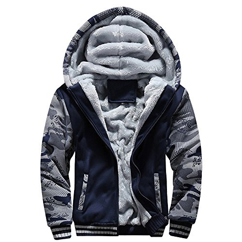 Lucky mall Männer M-4XL Winter warme Fleece-Mantel, Kapuze Zipper Sweater Jacke Outwear, Herren Winterkleidung Plus Samt Camouflage Sportbekleidung Große Schlanke Warme Jacke Crewneck Warm-up Jacke