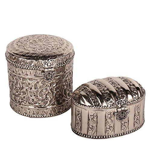 albena shop 73-121 Oriental boîte décorative métal Set de 2: 1 Renja + 1 Gilja argenté