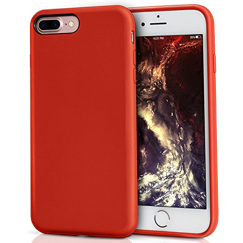 MILPROX iPhone 8 Plus Silikon Hülle, iPhone 7 Plus Silikon Hülle Silikon-Handyschale, Nette flüssige Silikons, stoßsicheres Futter aus Mikrofaser, geeignet für iPhone 7 Plus/8 Plus-Rot