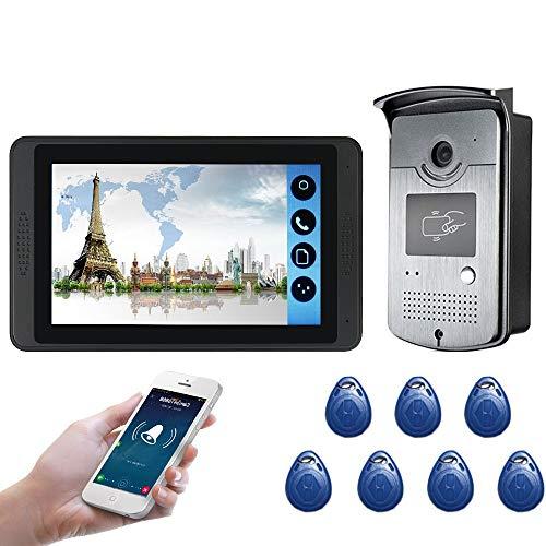 TQ Interphone visuel de contrôle d'accès de RFID Moniteur de 7 Pouces WiFi vidéo sans Fil de téléphone de Porte Sonnette visuelle système d'interphone d'entrée,B