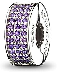 ATHENAIE 926 Silver Clip Espaciador Pave Purple CZ Enamel Charm Fit All European Bracelets Necklace