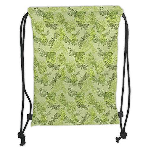 Trsdshorts Dragonfly,Sketchy Butterfly Like Bugs with Floral Ivy Print Wings Artwork,Light Green and Dark Green Soft Satin,5 Liter Capacity,Adjustable String Closure